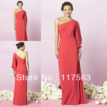 High Quality One Shoulder Long Coral Color Bridesmaid Dress Brides Maid Dress Free Shipping BD139