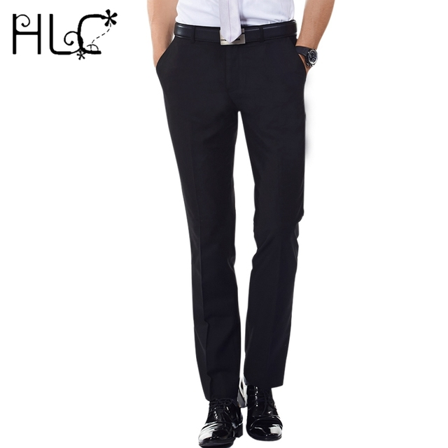 Anti Wrinkle Men Suit Pants Long Formal Straight Men's Dress Pants ...