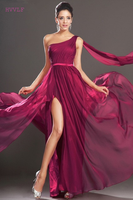 Burgundy   Evening     Dresses   2019 A-line Sweetheart Chiffon Beaded Long Formal Party   Evening   Gown Prom   Dresses   Robe De Soiree