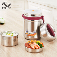 TTLIFE New Stainless Steel Children Vacuum Insulated Food Container Hot Food Bottle Large Capacity Insulated Lunch