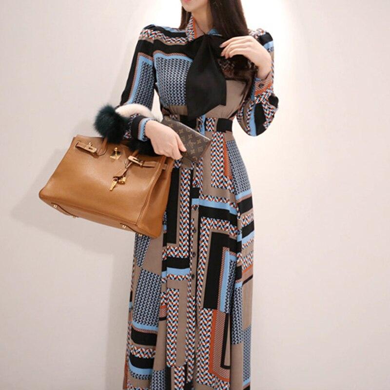 2019 Fashion Work Style Women Comfortable Chiffon Print Long A-line Dress New Arrival Temperament Elegant Beach Party Dress