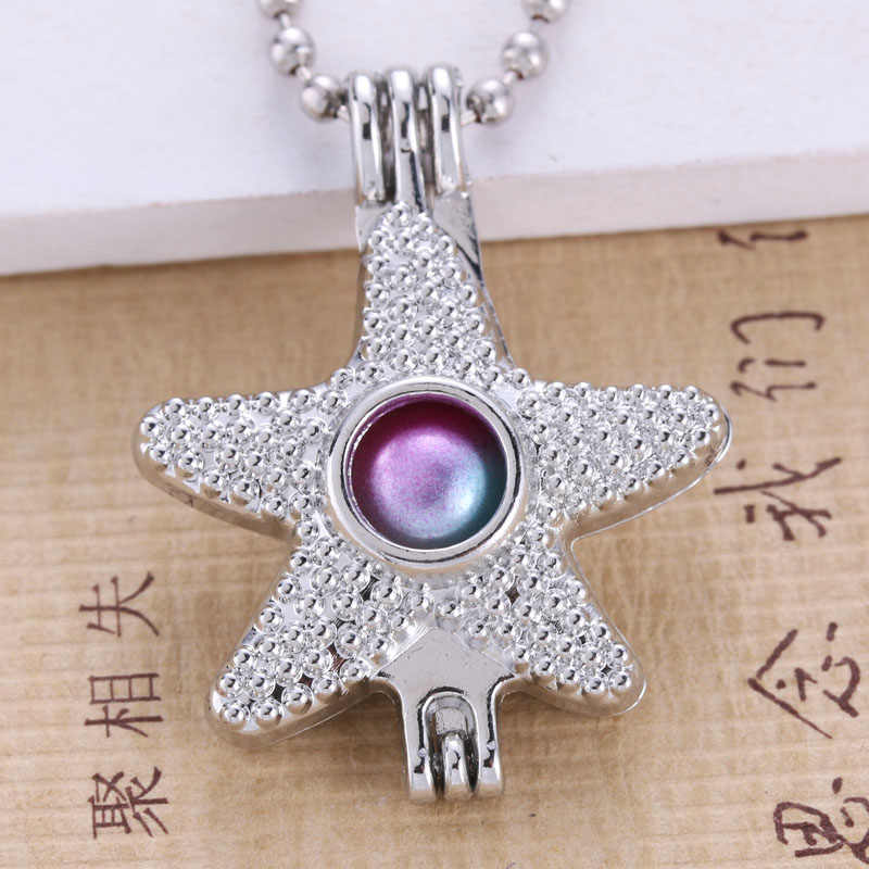 6pcs Vintage Silver starfish Design Trendy Necklace Bracelet Jewelry Making Pearl Cage Locket Pendant Perfume Diffuser Jewelry