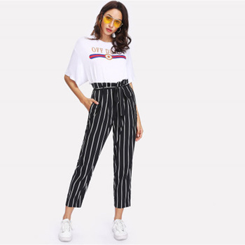 Self Belt Striped Pants Women fashion Clothing High Waist Zipper Trousers 2019 Spring New Casual Carrot Pants pantalones mujer self belted frilled waist striped pants