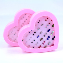 OATHYAN 36 Pairs/Set Colorful Crystal Stud Earrings Fashion Jewelry Anti-allergy Plastic Stick Earring Set Bijoux Mix In Random