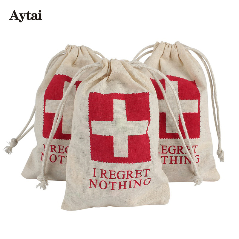 Aytai 100pcs Cotton Bachelorette Party Favors Bags 4x6 inch I Regret Nothing Wedding Hangover Kit Bag Event Party Supplies