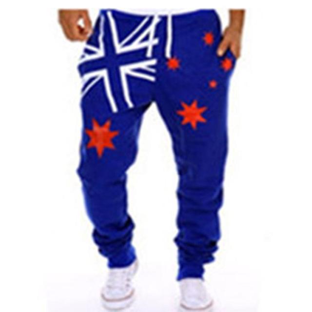 Corredores dos homens Calças Masculinas Calças Dos Homens Inglaterra Impresso Padrão Casual Magro Sweatpants Jogger XXL13K09