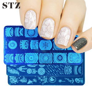 STZ 30 Design Nail Templates Stamping Plate Rose Dreamcather Lace Flower DIY Polish Stamper Nail Art Tool Mold Manicure XYZ01-32