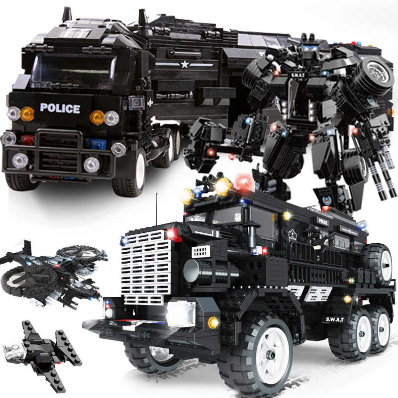 WOMA compatible legoed SWAT city police arms truck car sets model building kits helicopter vehicle blocks kids toys for children