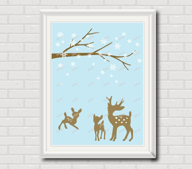 Reindeer nursery wall art poster print modern pictures kids room decor home decoration wall hanging deer