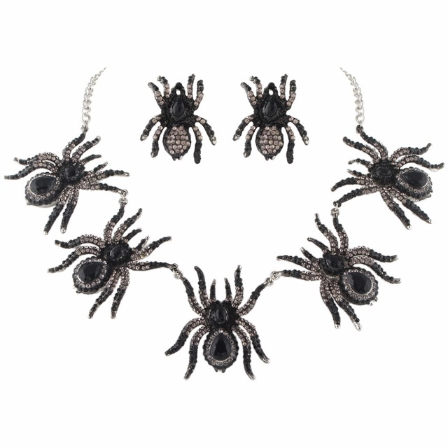 Spider Jewelry Set.  Austrian Crystal Necklace Earrings Set