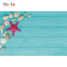 Yeele Wooden Board Starfish Conch Shell Summer Holiday Photography Background Photographic Customized Backdrops for Photo Studio