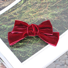 где купить Free Shipping 1pcs Women's velvet bow hairpins girl's cute lovely fashion hair clips hair Korea accessories 2018 дешево