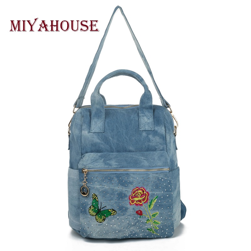 Miyahouse Floral Butterfly Embroidery Design Backpack Women Rivet School Backpacks For Girls Luxury Denim Female Backpack chic mid waist button design ripped denim shorts for women