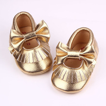 Spring Autumn Leather Solid Butterfly knot Fringe Design Slip On Cute Baby Girl Dress Shoes For