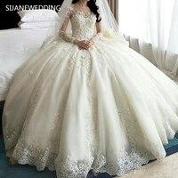 SIJANE Vestidos De Noiva бальное платье принцессы Свадебное платье роскошный длинный хвост корт Королевское свадебное платье es Robe De Mariee 0712