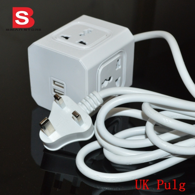 4 Outlets Dual USB Ports gsm Multi smart UK plug Switch Socket 1.5m ...