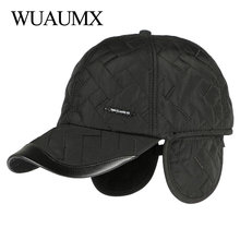 Wuaumx Brand NEW Autumn Winter Baseball Caps For Men With Ear flaps Cotton Thick Warm earmuffs Cap Dad Hat & Casquette