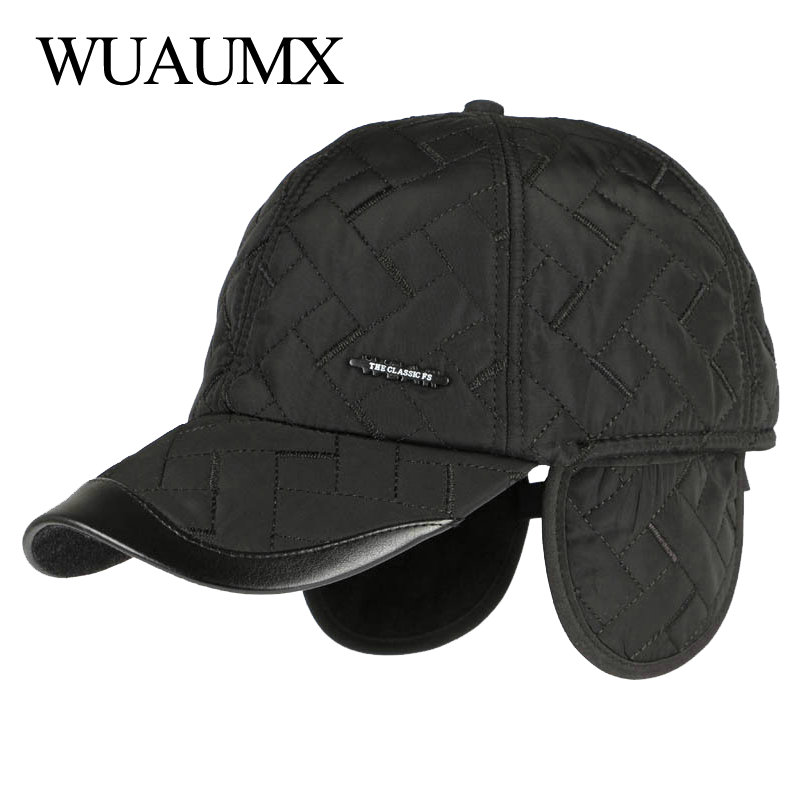 Wuaumx Brand NEW Autumn Winter Baseball Caps For Men With Ear flaps Cotton Thick Warm earmuffs Cap Men Dad Hat & Caps Casquette