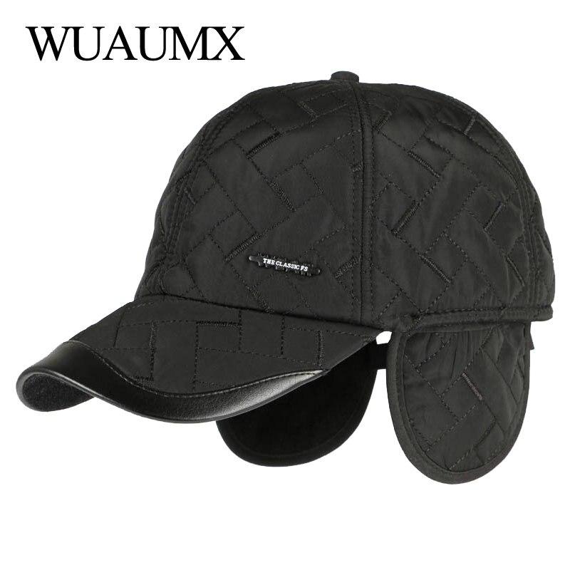 Wuaumx nuevo Otoño Invierno gorras de béisbol para los hombres con orejeras algodón grueso orejeras calientes Cap hombres sombrero de papá y gorras, gorras para hombre beisbol, gorros hombre