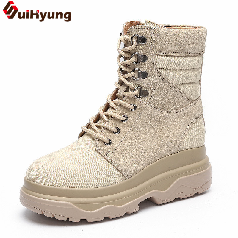 Suihyung New Winter Women Shoes Platform Patchwork Real Leather Low Heels Martin Boots Mid-Calf Snow Boots Thicken Botas Mujer цена