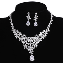 Sliver Plated CZ Necklace And Earring Set bridal Prom Rhinestone Wedding Accessorie Sets For Women big Flowers Crystal Party Set