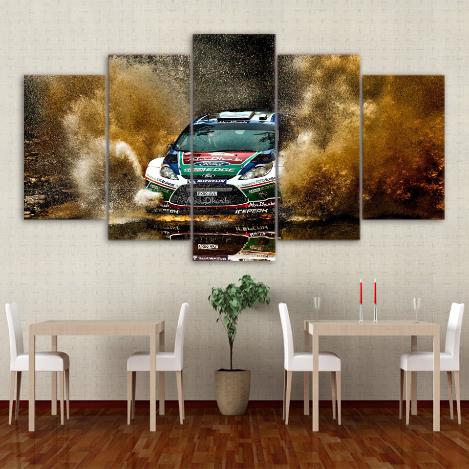 5 Pieces Canvas Painting Wall Art Frame Home Decor Pictures Sports Racing Car Landscape Poster For Living Room HD Printed Poster