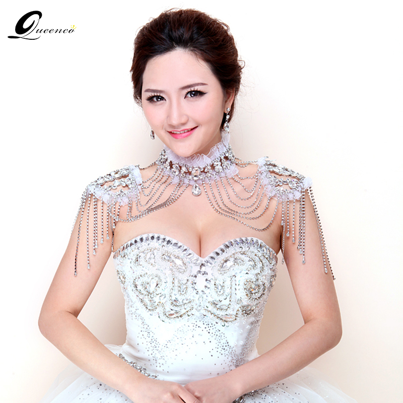 Bride Beads Lace Bridal Chain Tassel Shoulder Strap Jewelry Crystal Accessories Jewellery Wedding Necklace Jewerly Sets цена
