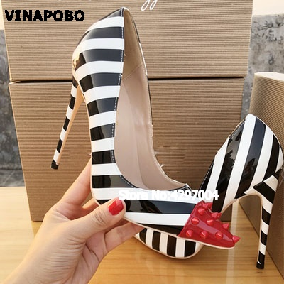 Mixed Colors Sexy stripe Party Shoe 2018 New Retro Rivet Flock Shallow Women Pumps Pointed Toe