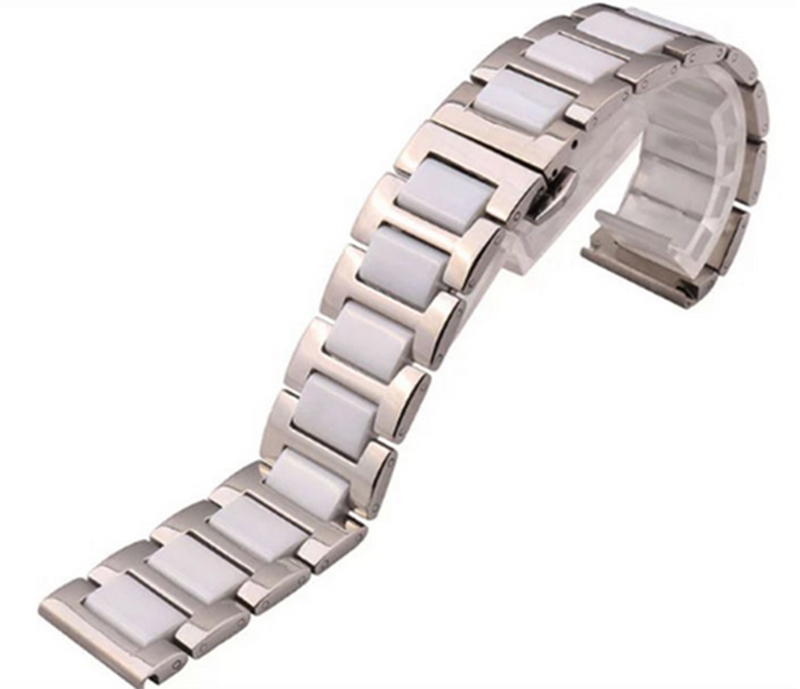 High quality Watches band Straps Bracelets 16mm 18mm 20mm Stainless steel wrap Ceramic White Black Fashion
