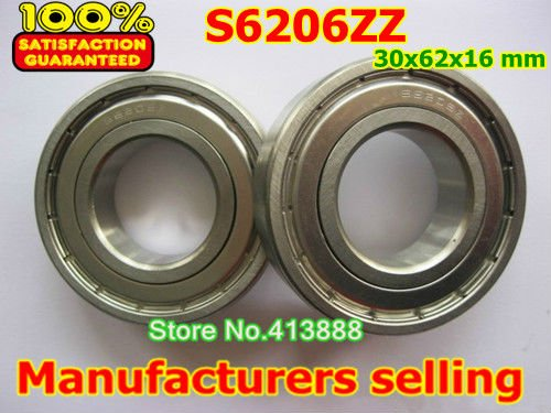 (1pcs) SUS440C environmental corrosion resistant stainless steel deep groove ball bearings S6206ZZ 30*62*16 mm high quality sus440c environmental corrosion resistant stainless steel deep groove ball bearings s6210zz 50 90 20 mm