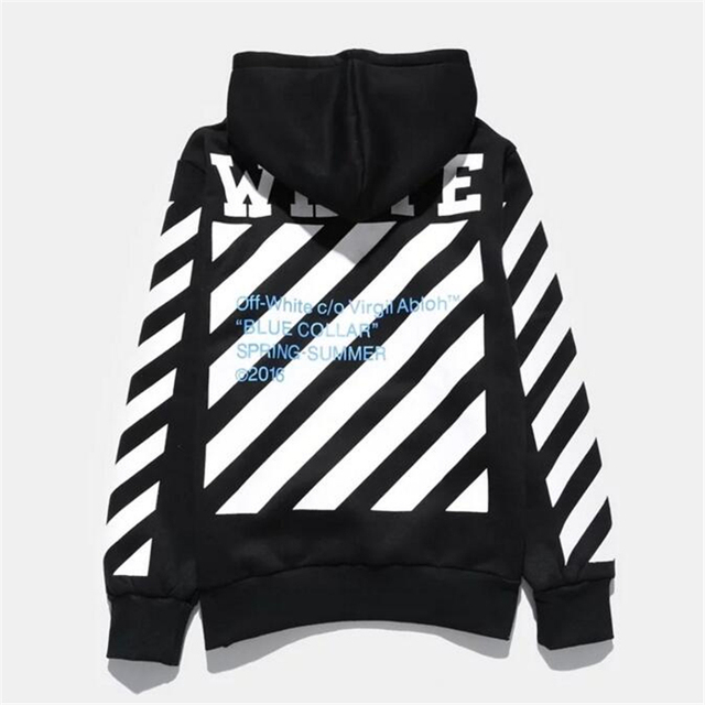High Quality 1 1 Men Justin Bieber Hoodies OFF White C o Virgil Abloh  Signature Sweatshirt Homme Pullovers OFF WHITE Striped a0c87b5484ef