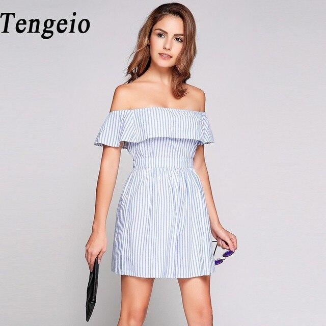 c5255cb131b2 Tengeio Blue Off Shoulder Striped Dress Female Sexy Backless Mini Dresses  Summer 2018 Boho Beach Ruffle Dresses Robe Femme 610