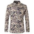 Slim Fit Floral Print Shirt Men Casual Long Sleeve Shirt High Quality Latest Mens Fashion Shirts Party Wear Camisa Social T165