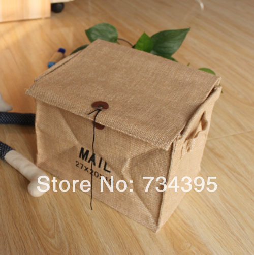 US $17 98  ZAKKA jute fabric storage box storage box finishing letters  retro green waterproof storage barrels ears household debris basket -in  Storage