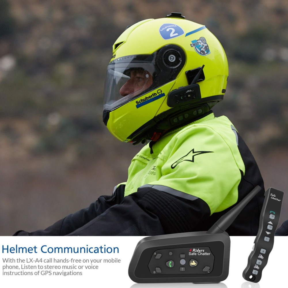 f5163a1fa50 LEXIN 1PC A4 1000M 4 Riders Motorcycle BT Helmet Intercom with Romote  Control Moto Bluetooth Interphone Headset Intercomunicador-in Helmet  Headsets from ...