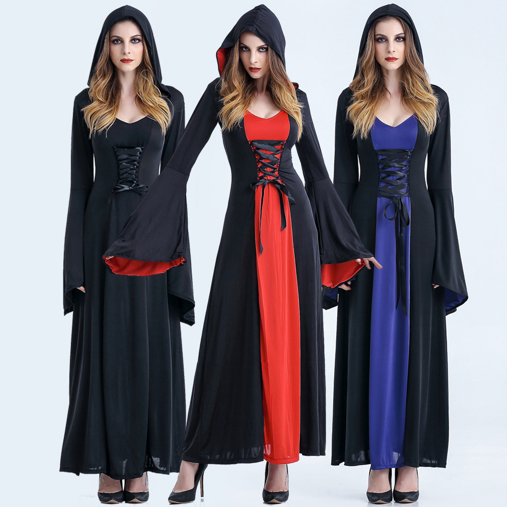 Victorian Halloween Costumes Hoodie Witch Costume Women Long Dress Cosplay Clothes Women 2017 Victorian Halloween Costumes