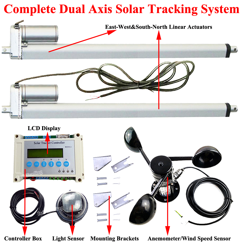 electric dual axis solar tracking system kit 2 18 linear actuator motors lcd display controller anemometer diy pv sun tracker [ 1000 x 1000 Pixel ]