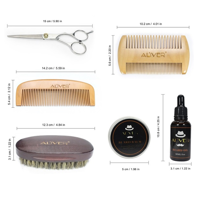 Men Beard Oil Kit With Beard Oil , Brush,Comb,Beard Cream Scissors Grooming & Trimming Kit Male Beard Care Set tjt 1