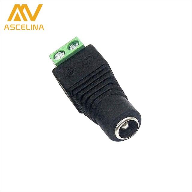 ASCELINA 1 pcs DC Power female Connectors Plug 5.5 x 2.1mm Jack Adapter Connector for Led Strip Light 3528 5050 5630 5730 Black