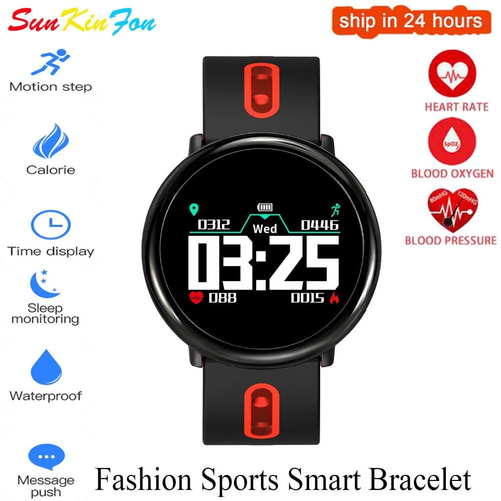 For OPPO R17 Pro R15 R11 Plus R9 Plus Sport Smart Bracelet Band Heart Rate Blood Pressure Oxygen Fitness Tracker Smart Wristband plus heart