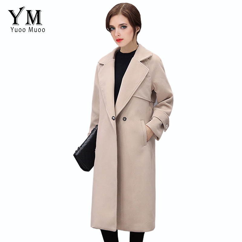 YuooMuoo Spring Autumn Women Beige Solid Wool Jacket Coat Female Winter Woolen Long Coat Turn Down Collar