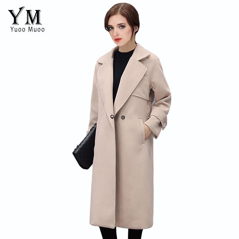 YuooMuoo Spring Autumn Women Beige Solid Wool Jacket Coat Female Winter Woolen Long Coat Turn Down