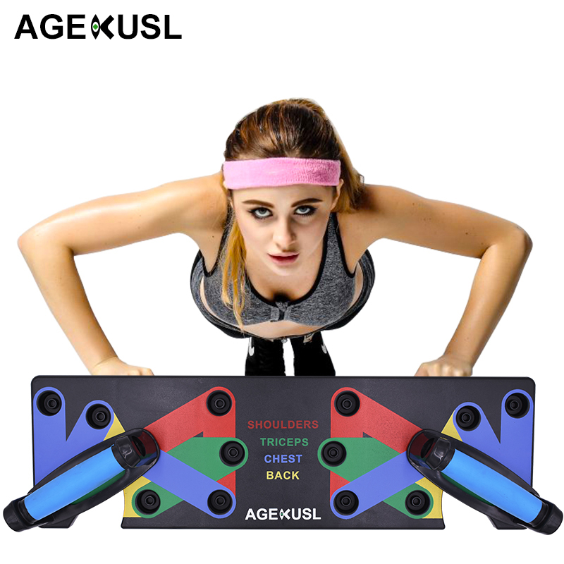 AGEKUSL 9 IN 1 Push Up Rack Board System Comprehensive Fitness Exercise Workout Pushup Stands Complete