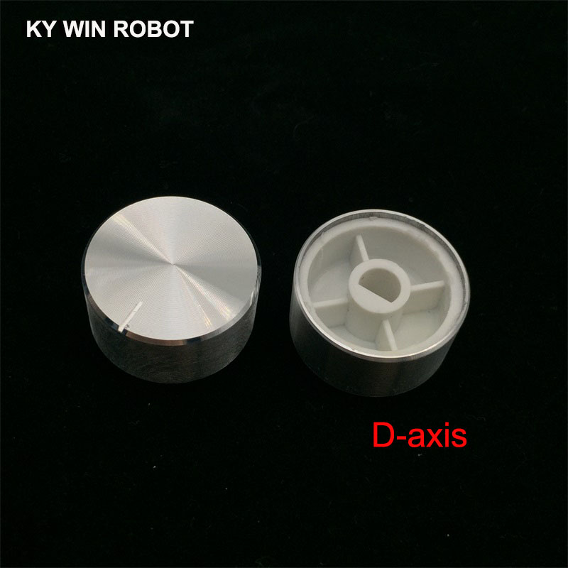 1 Pcs 25x13mm 6mm Shaft Hole Aluminum Alloy Potentiometer Knob White (D-axis)
