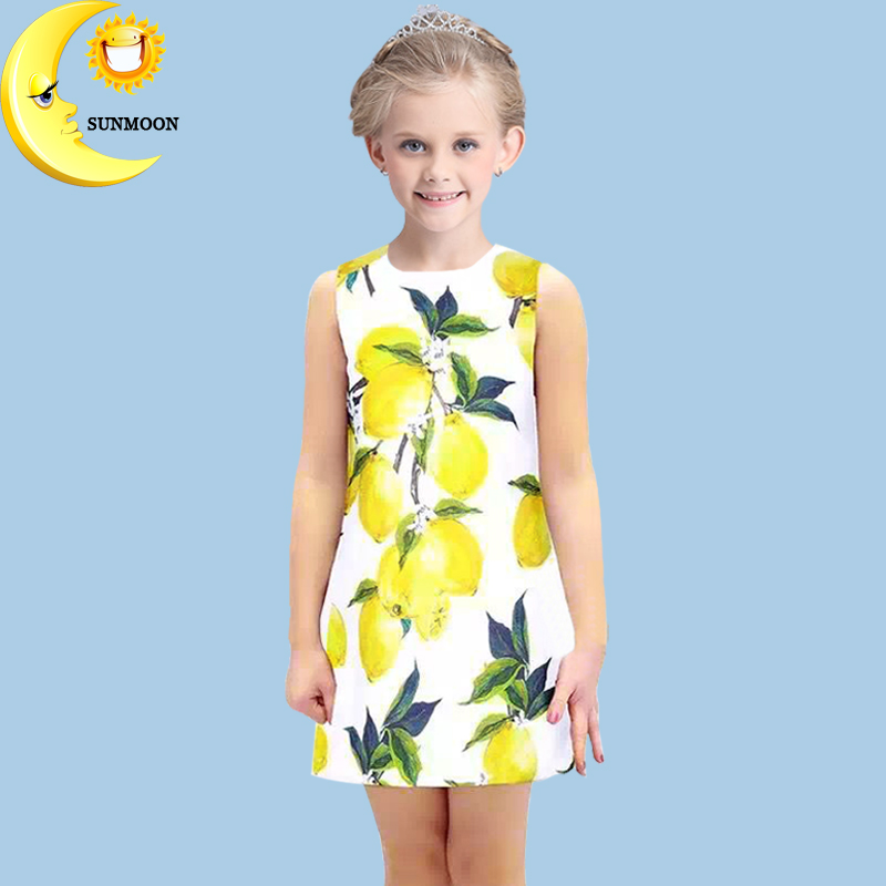 Подробнее о Girl clothes new summer baby girl dress lemon print kids dresses for girls children clothing casual princess dress 2-10Y vestido baby girl dress 2016 brand girls summer dress children clothing lemon print kids dresses for girls clothes robe princesse fille
