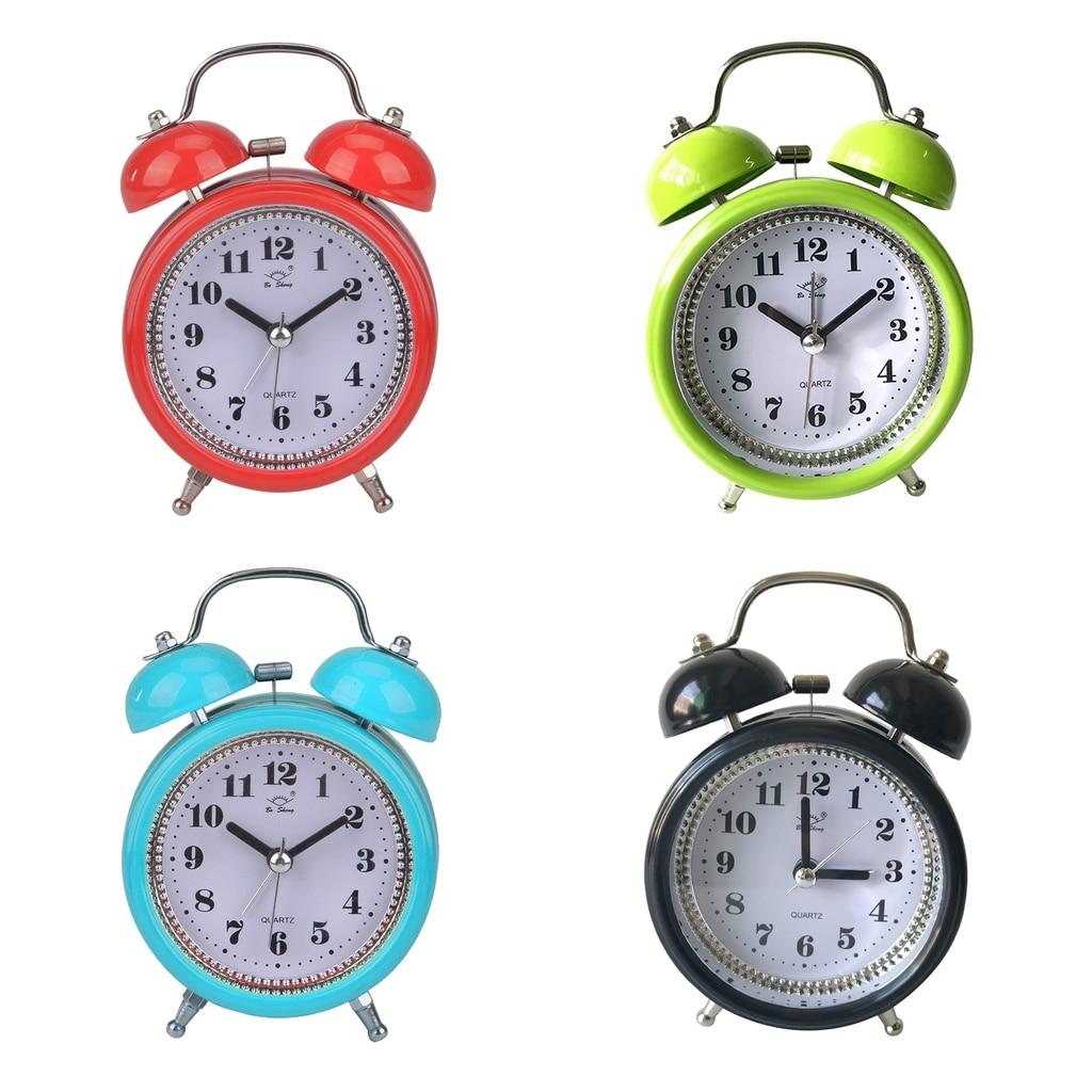Classic Silent Double Bell Alarm Clock Quartz Movement Bedside w// Night Light !