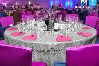 Shinybeautyポリエステル/スパンコール72ラウンド6ftシルバー表布生地/テーブルクロス用ホテルパーティーウェディングテーブルクロスダイニング