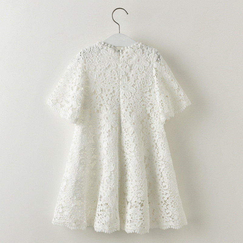 Summer Casual Half Sleeve Girl Lace Dress White Floral Pattern O-Neck - Children's Clothing - Photo 3
