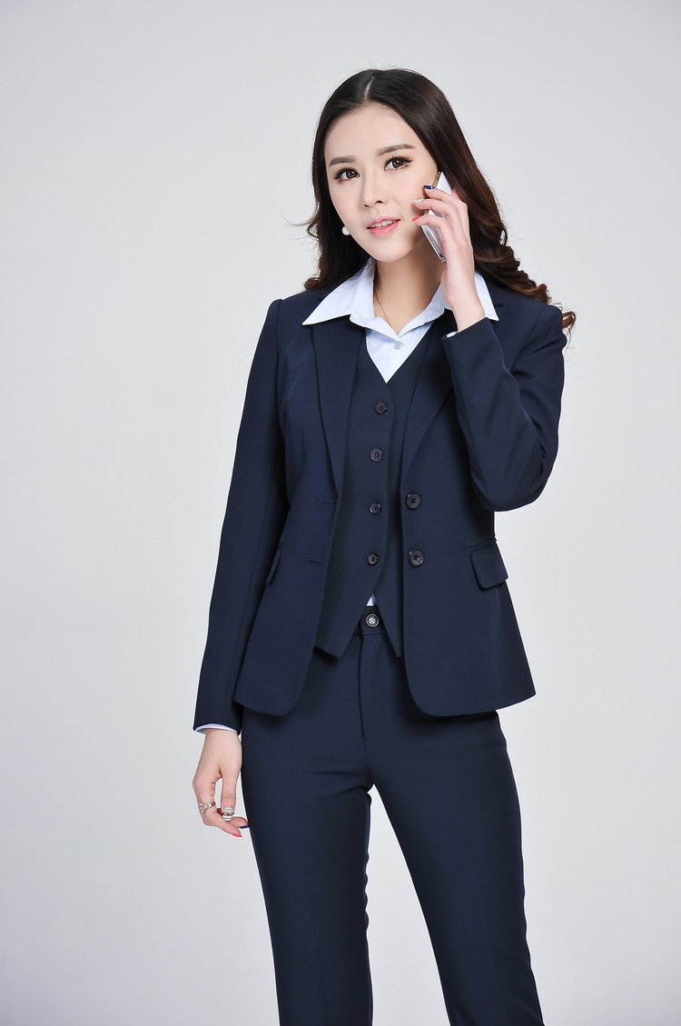 Formal Women Business Suits with Pant   Blazer   Vest 3 Piece Set ...