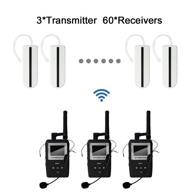 UHF WTAG05 Wireless Tour Guide System Earhook Receivers for Tour Guide, Wireless Translation System 3 Transmitter 60 receiver